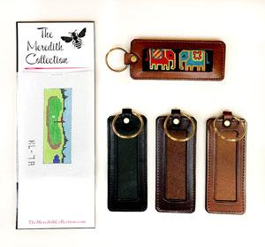 Texas Bass Fishing leather key fob or keychain